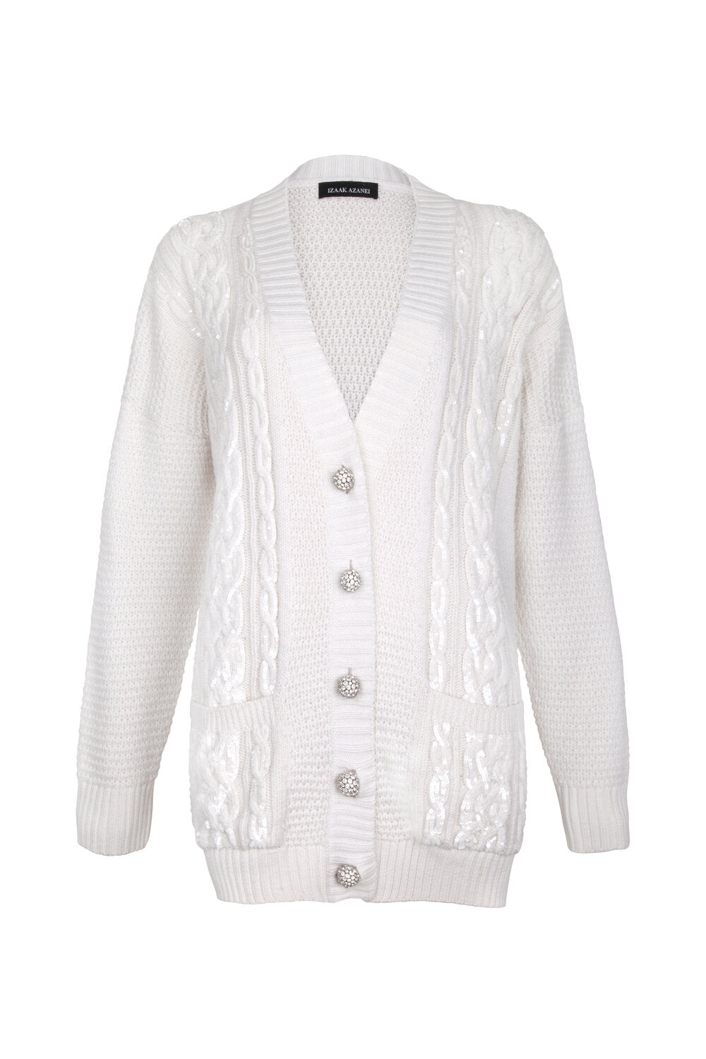 White Sequin Embellished Cable Cardigan