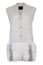 Load image into Gallery viewer, Grey Fur Trim Waistcoat