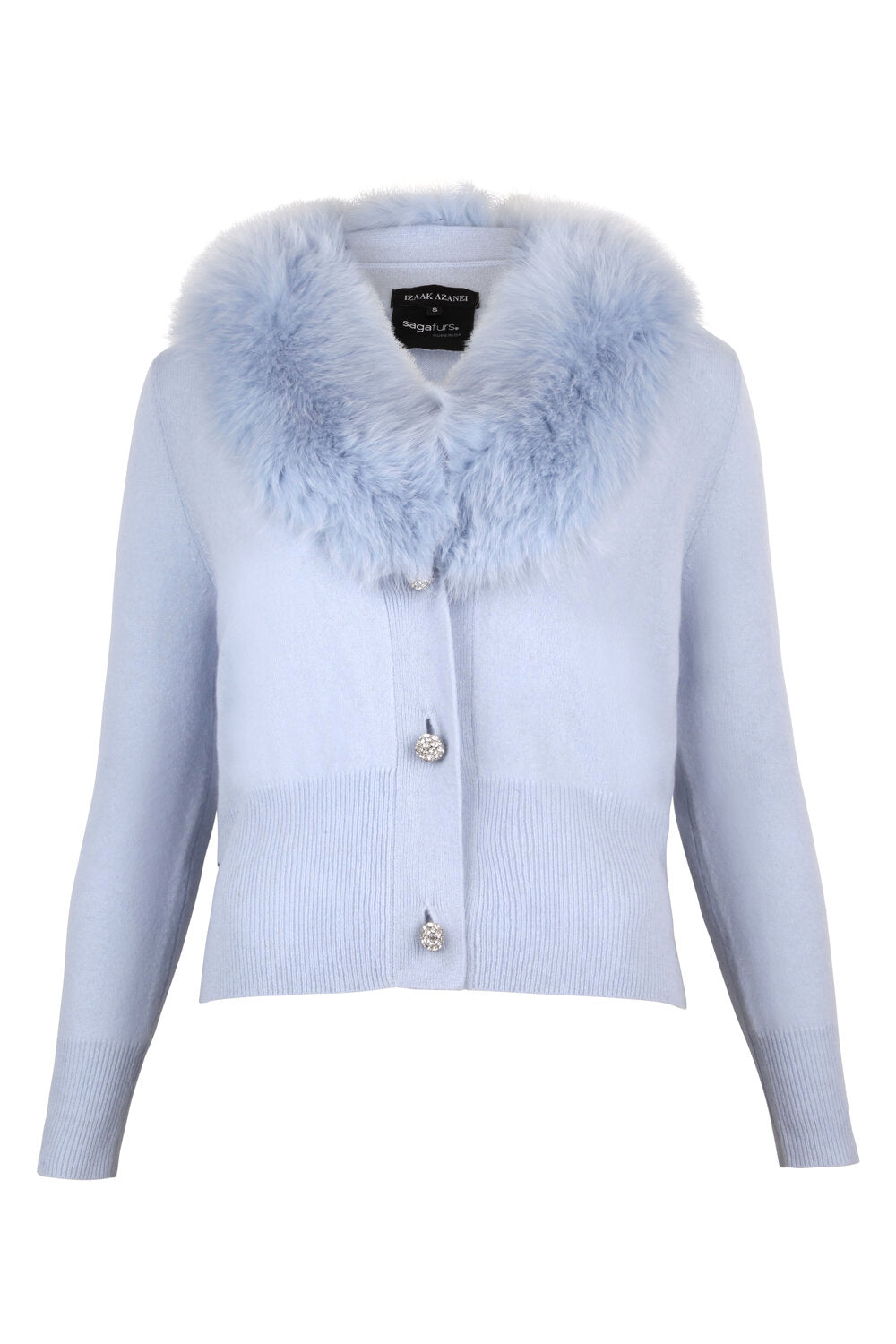 Blue Cropped Buttoned Fur Collar Cardigan
