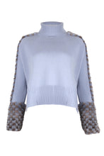 Load image into Gallery viewer, Blue Cropped Polo Neck Mink Cuff Sweater