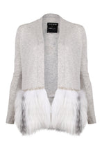 Load image into Gallery viewer, Grey Embellished Fur Trim Cardigan