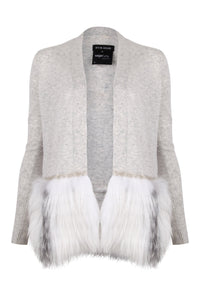 Grey Embellished Fur Trim Cardigan
