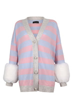 Load image into Gallery viewer, Pink Striped Faux Cuff Cardigan