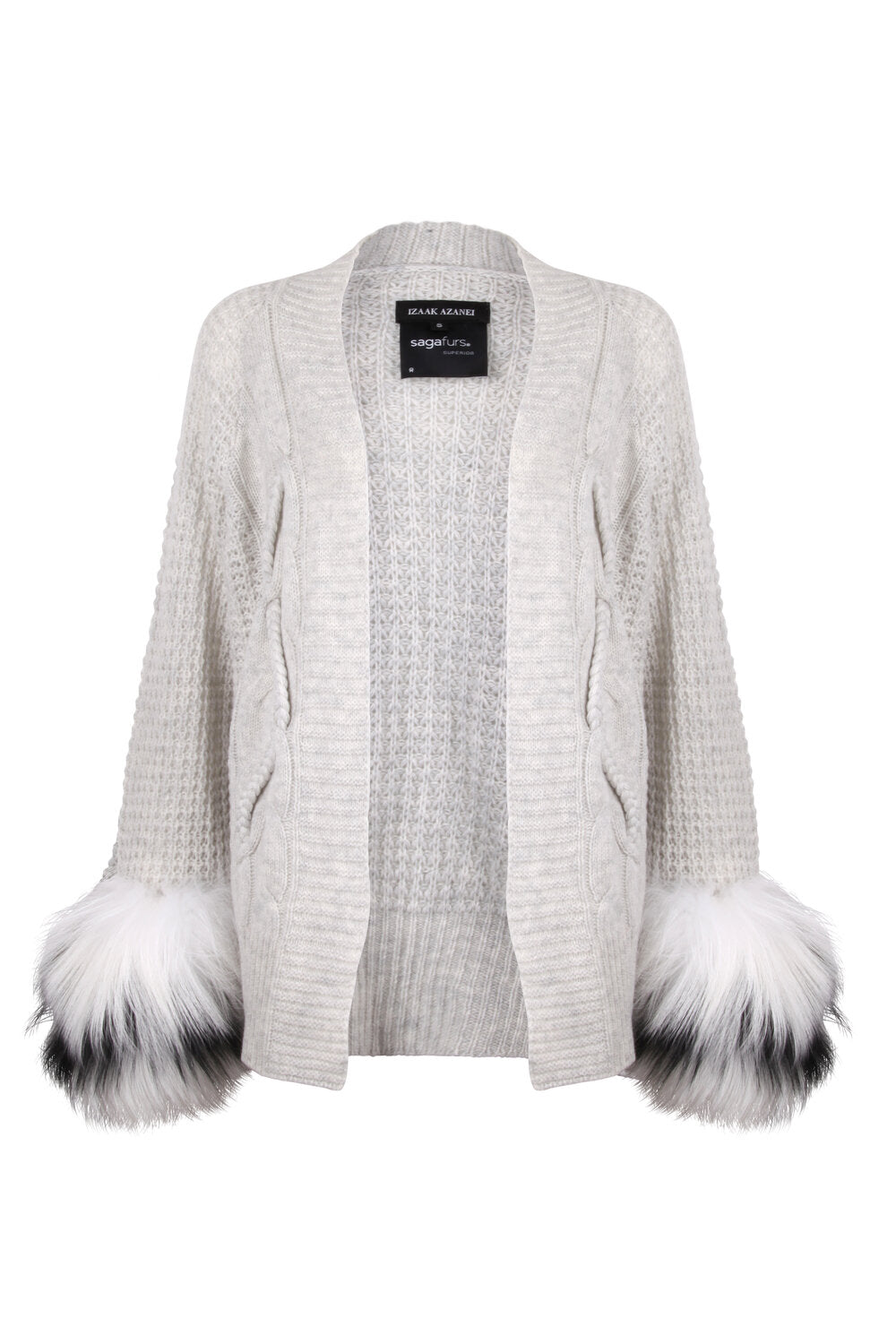 Grey Cable Fur Cuff Cardigan