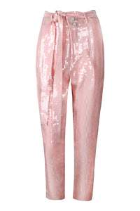 Pink High Waisted Sequin Tapered Pants
