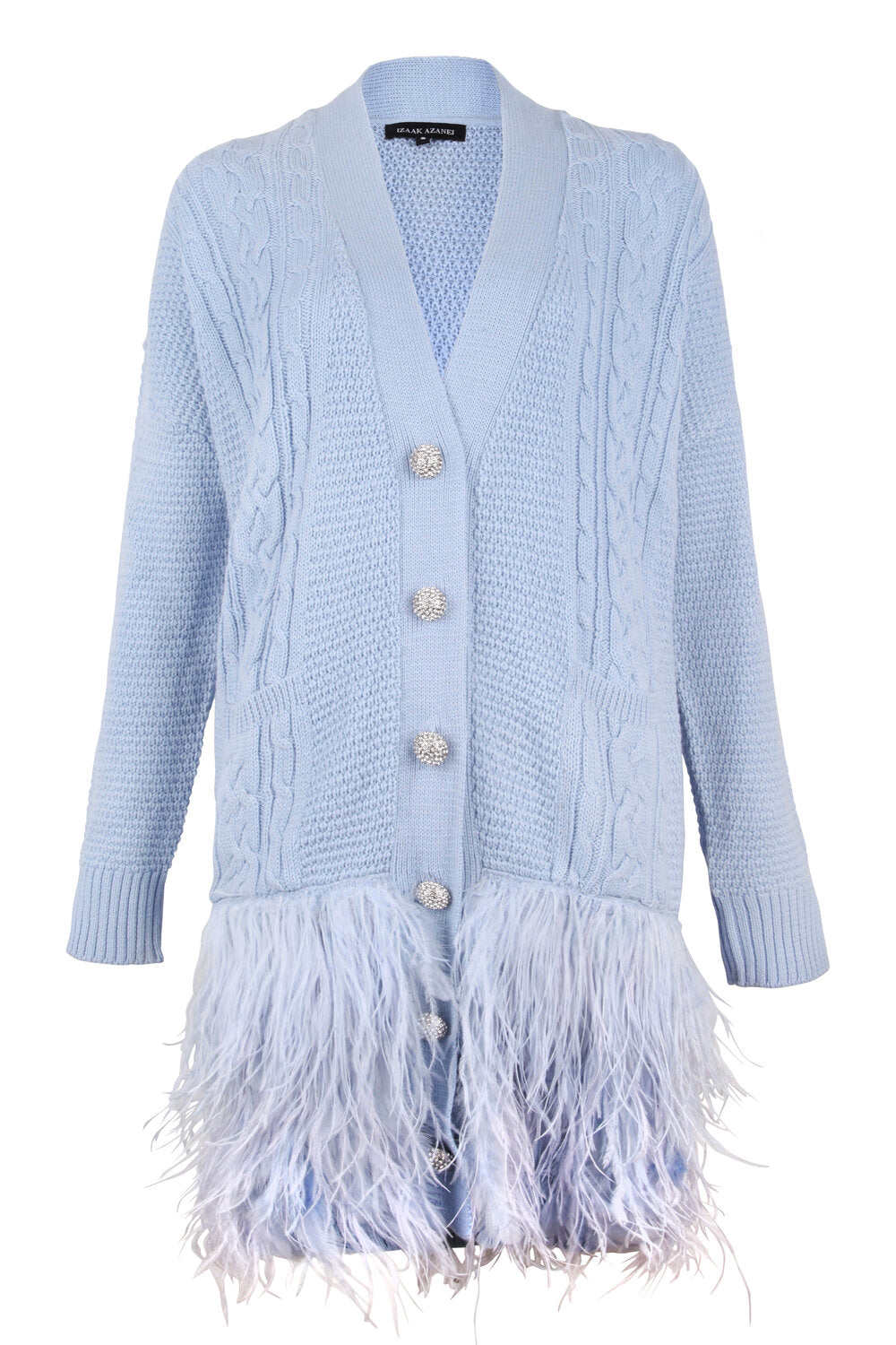Blue Feather Trim Cable Cardigan