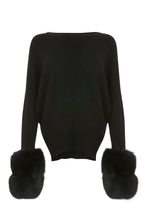 Load image into Gallery viewer, Black Faux Cuff Sweater