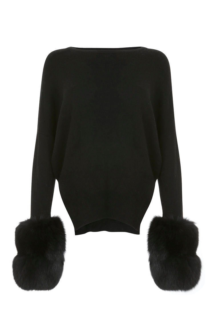 Black Faux Cuff Sweater