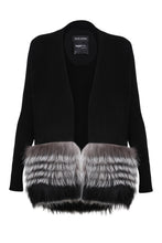Load image into Gallery viewer, Black Silver Fox Trim Cardigan