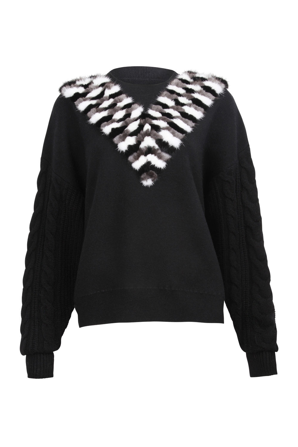 Black Cable Sleeve Sweater