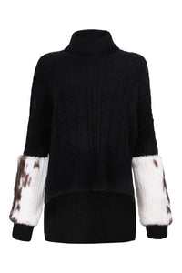 Black Cable Knit Polo Neck Sweater