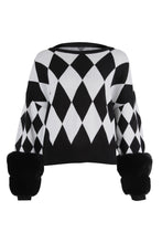 Load image into Gallery viewer, Diamond Monochrome Faux Cuff Sweater