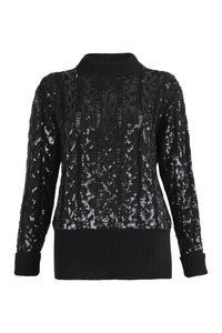 Black Cable Knit Sequin Jumper