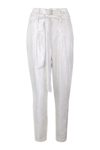 White Sequin High Waisted Tapered Pants