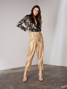 Caramel High Waisted Sequin Tapered Pants