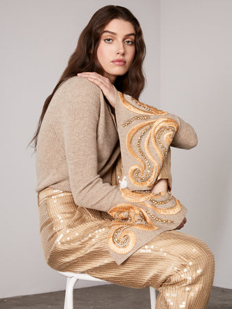 Beige Embroidered Bell Sleeve Sweater