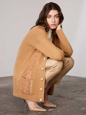 Caramel Sequin Embellished Cable Cardigan