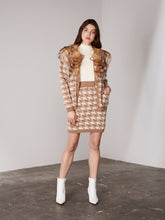 Load image into Gallery viewer, Caramel Houndstooth Buttoned Cardigan