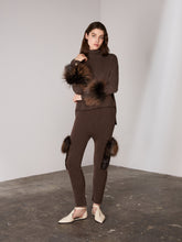 Load image into Gallery viewer, Brown Cropped Polo Neck Cuff Sweater