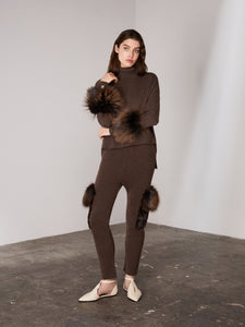 Brown Flap Pocket Knit Pants