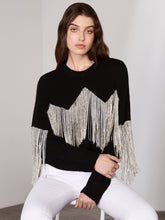 Load image into Gallery viewer, Black Cropped Diamond Tassel Jumper
