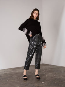 Black High Waisted Sequin Tapered Pants