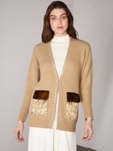 Load image into Gallery viewer, Beige Embellished Velvet Pocket Cardigan