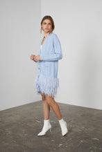 Load image into Gallery viewer, Blue Feather Trim Cable Cardigan
