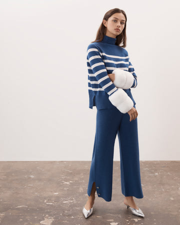 Striped Cropped Faux Cuff Sweater