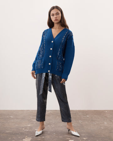 Blue Sequin Embellished Cable Cardigan