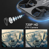 KAIDENG Card Drone K150 720P WIFI FPV HD Camera Optical Flow RC Quadcopter - YIKOBUY
