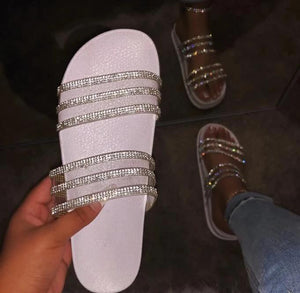 2020 New Women Shiny Slippers Casual Embellished Toe Post Shoes - YIKOBUY