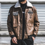 2019 Winter New Men's Casual Genuine Leather Pilot Jacket with Removable Fur Collar  Winter Warm Coat - YIKOBUY