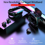Bluetooth Heart Rate Blood Pressure Monitoring Smart Headset Watch - YIKOBUY
