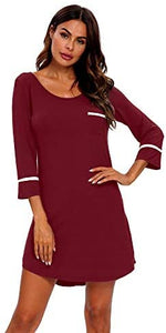 TIKTIK Womens Sexy Modal Nightgowns 3/4 Sleeve Nightshirts for Women Boyfriend Sleepwear S-2XL - YIKOBUY