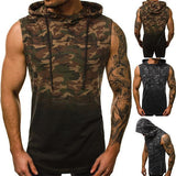 Street Camouflage Gradient Color Hooded Tank - YIKOBUY