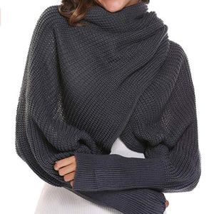 Autumn&Winter Fashion Crochet Knitted Scarf Shawl with Sleeves - YIKOBUY