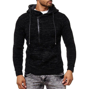 Fashion hooded drawstring solid color slim zipper pullover men's knit sweater - YIKOBUY