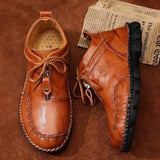 Men Hand Stitching Leather Non Slip Large Size Boots - YIKOBUY