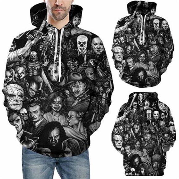 Fashion Male Female Unisex Horror Killer 3D Print Hoodies - YIKOBUY
