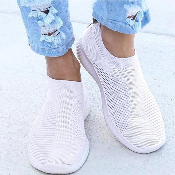 Women Stretchy Slip-on Mesh Sneakers - YIKOBUY