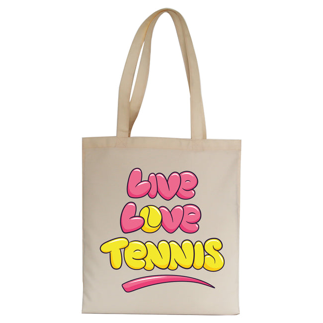 Live love tennis tote bag
