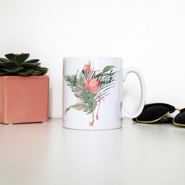 Tropical girl flamingo mug