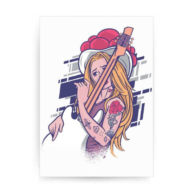 Rock and roll girl print