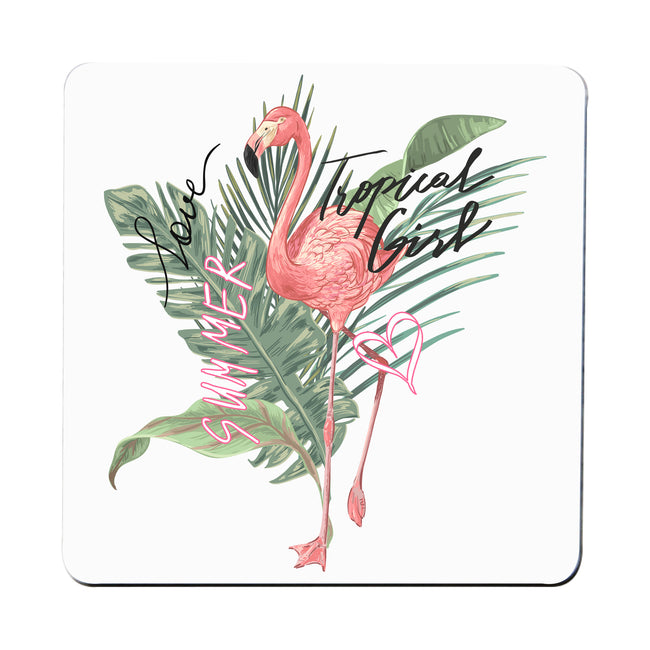 Tropical girl flamingo coaster