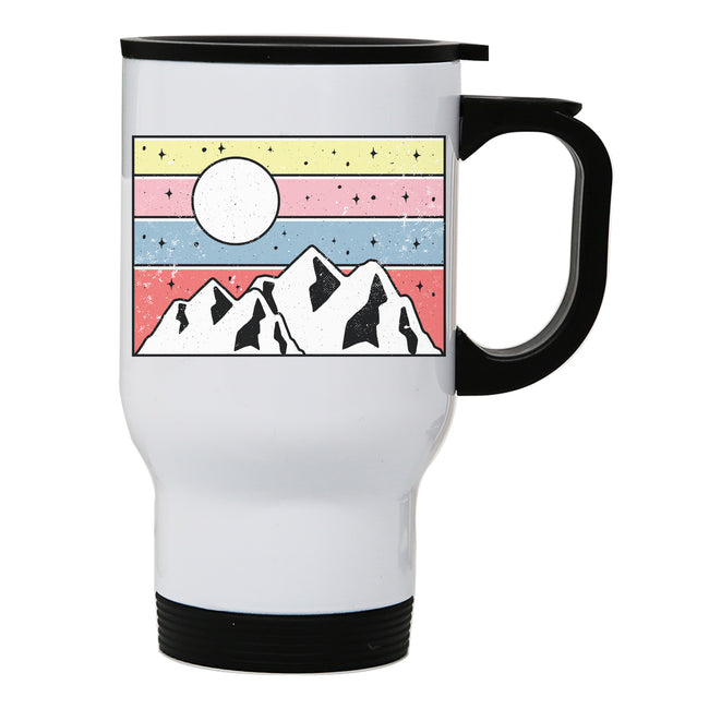 Minimal mountain sunset travel mug