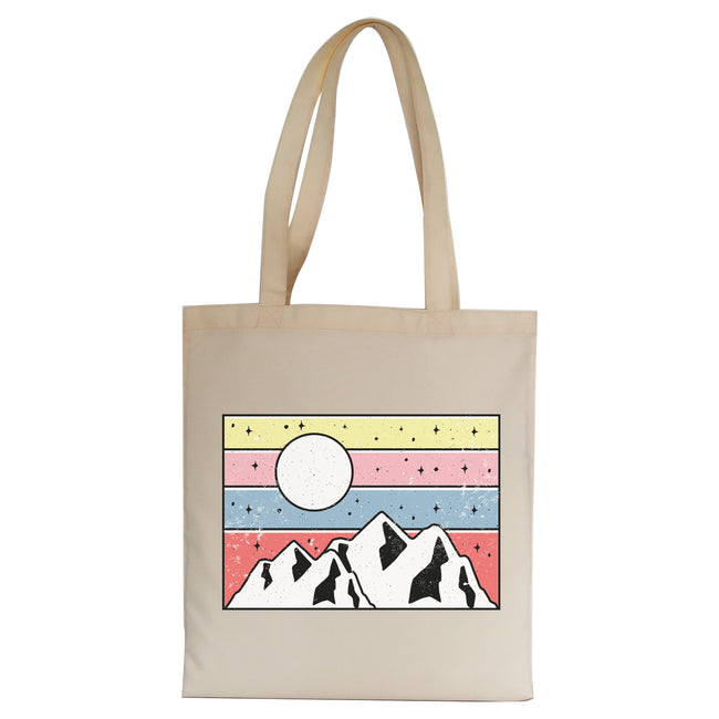 Minimal mountain sunset tote bag