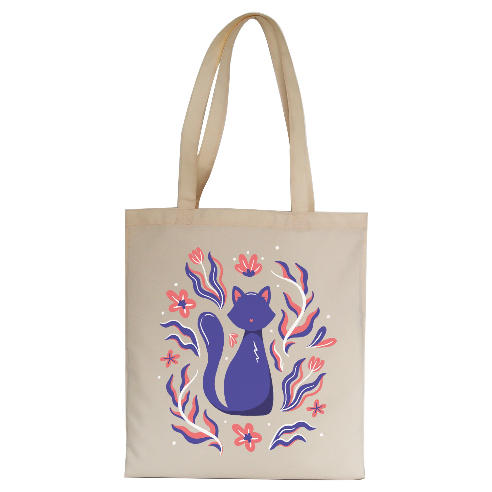 Nature cat illustration tote bag