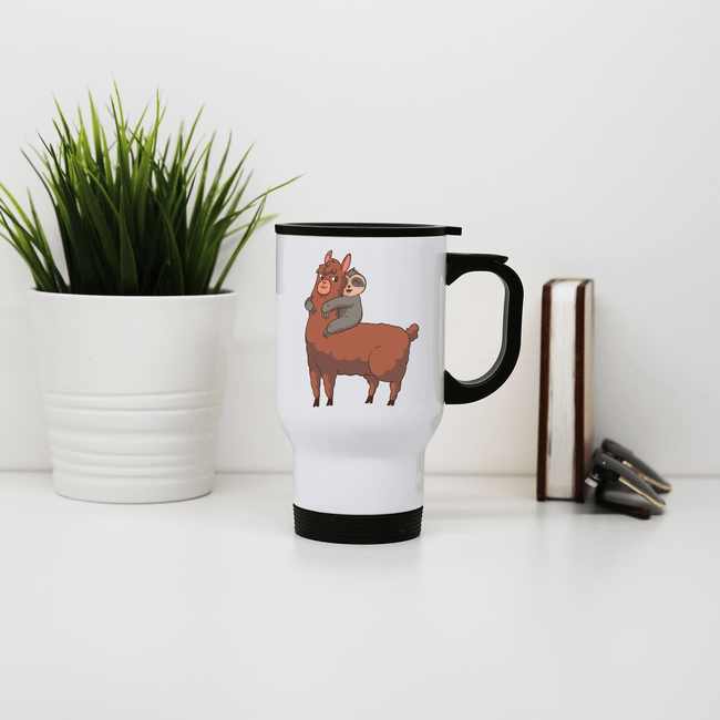 Llama sloth hugging stainless steel travel mug - Make It Print