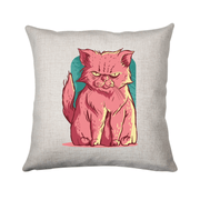 Grumpy pink cat cushion - Make It Print